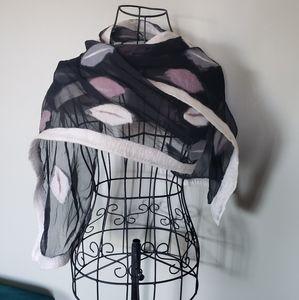 Felted wool leaf print semi sheer scarf